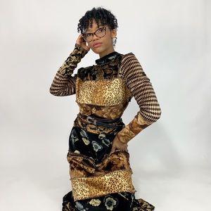 1990's Vintage Long Sleeve Patchwork Maxi Dress